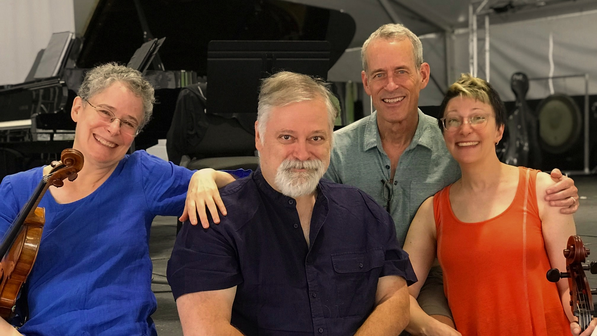 Sharan Levanthal, Hagen, Peter Marshall, and Sarah Kapps in rehearsal for Piano Trio No. 7's premiere in July 2019 at the Wintergreen Music Fesival.