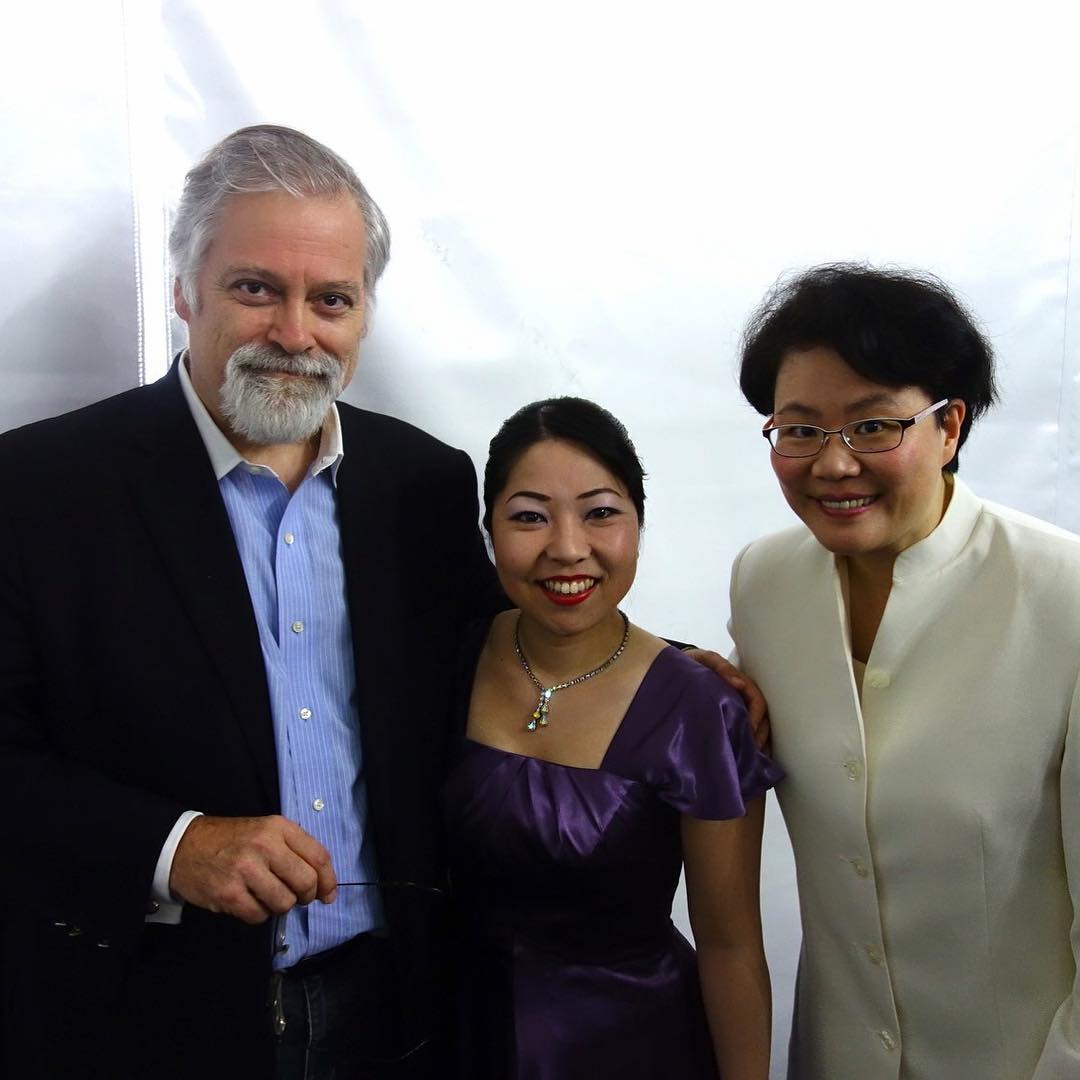 With koto soloist Yoko Reikano Kimura and conductor Ann-Mei Chen after their performance of my Concerto at the Wintergreen Music Festival the other day. — with  Yoko Reikano Kimura  and  Mei-Ann Chen  in  Wintergreen, Virginia .