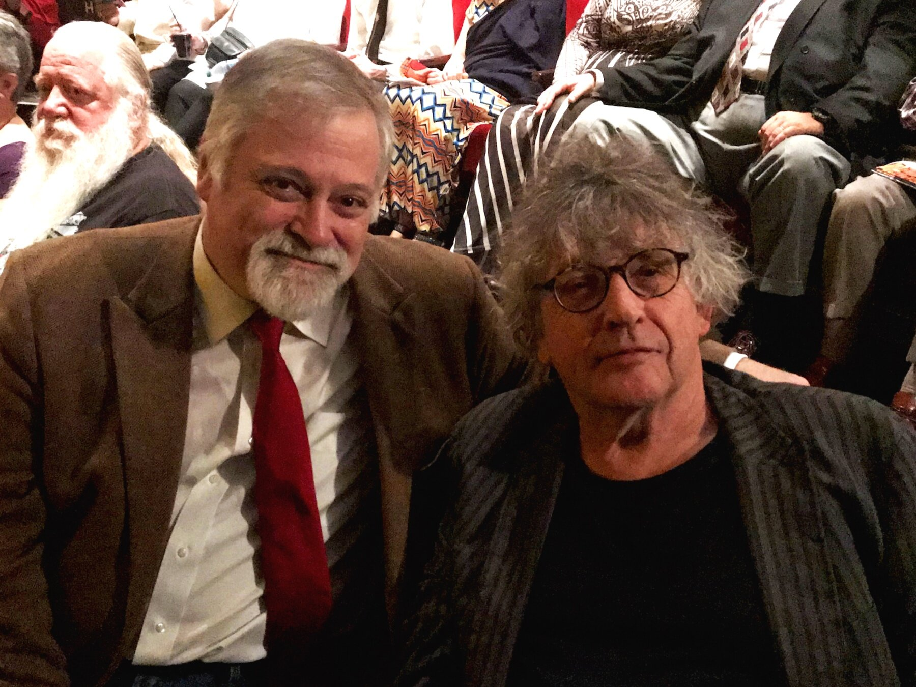 "Hagen and Muldoon in October 2019 at the debut of the ""Taliesin West Version"" of  Shining Brow ."