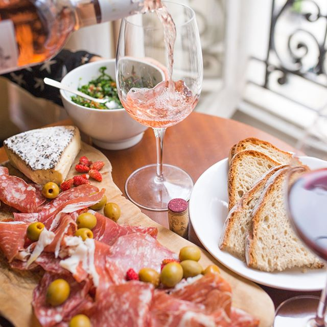Rose and antipasto for the perfect girls night in. Shop olives, cheeses, cracker and sourdough instore! #harbordgrowers