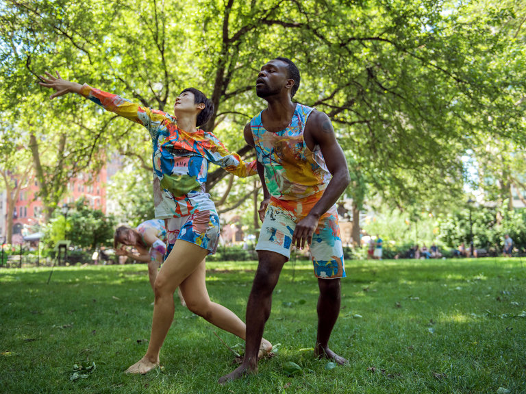"Mina Nishimura and André Zachery perform in a public movement practice called ""Desire Lines,"" presented by Rashaun Mitchell and Silas Riener. CreditStephanie Berger for The New York Times"
