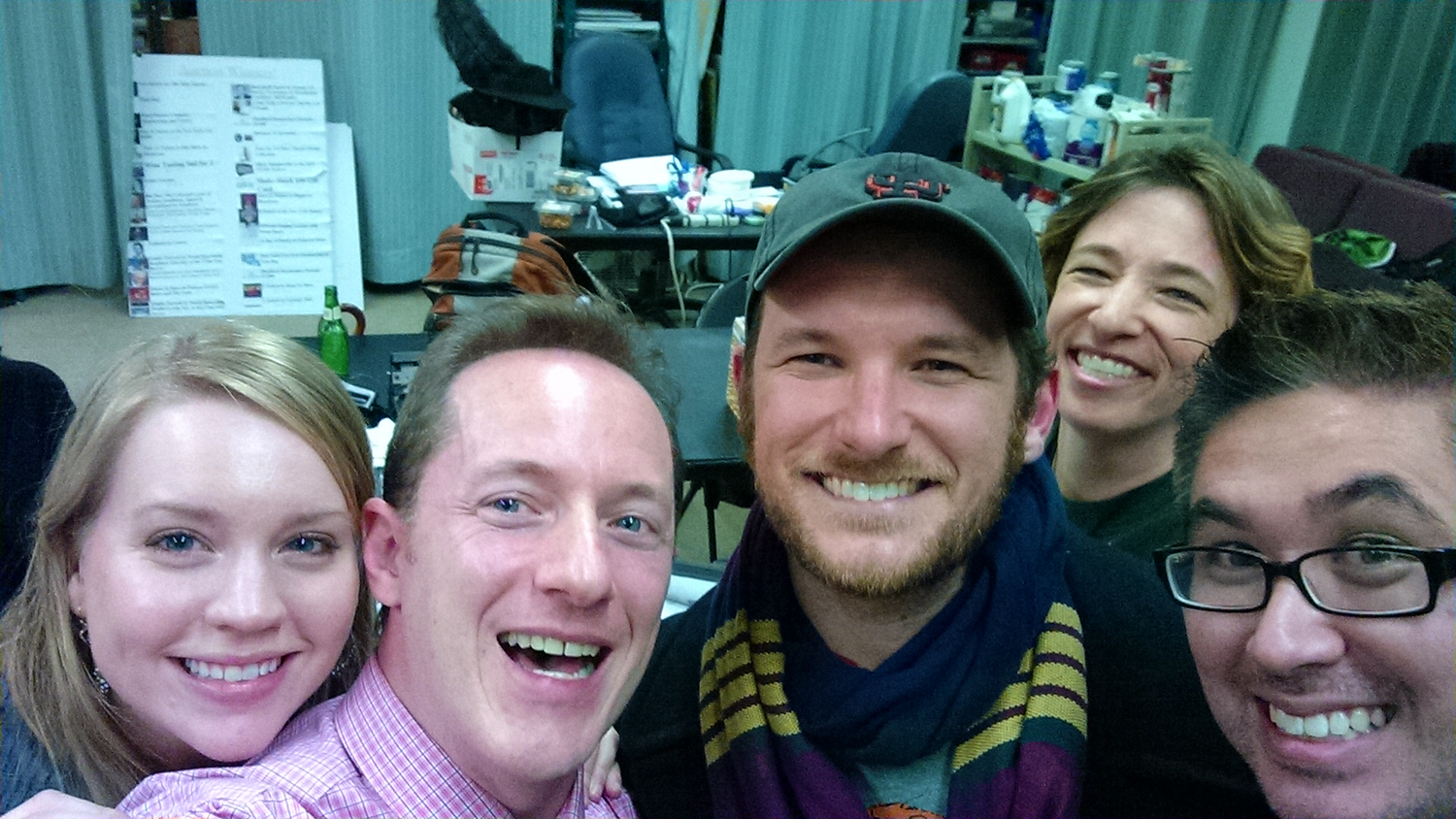 Backstage at TUNE IN TIME (the musical theatre game show), with (from l. to r.)     Britt Bonney  , Tom,   Drew Gasparini  ,   Amy Engelhardt   and   Erik Przytulski  .