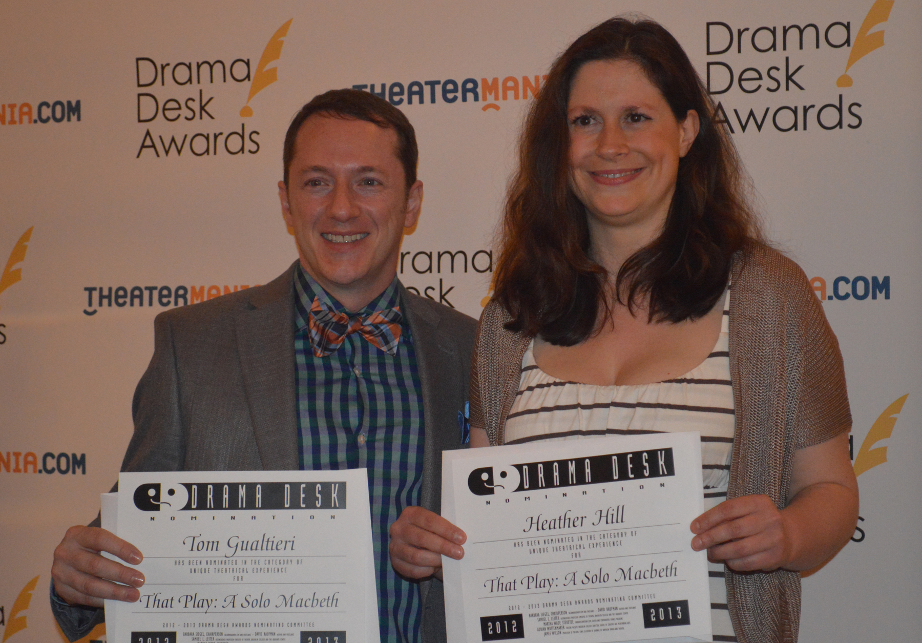 With Heather Hill, accepting the 2013 Drama Desk Nomination for   THAT PLAY: A SOLO MACBETH  .