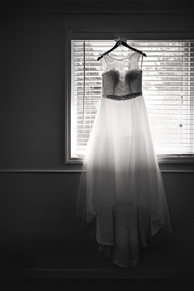 Silhouette shot of the bride's beautiful wedding gown from  David's Bridal
