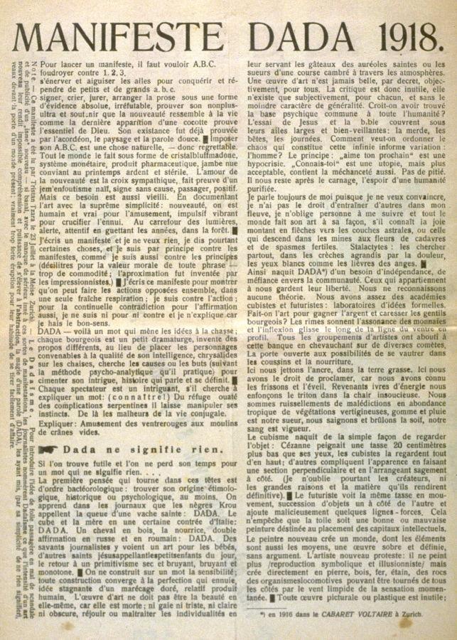 Manifeste Dada 1918