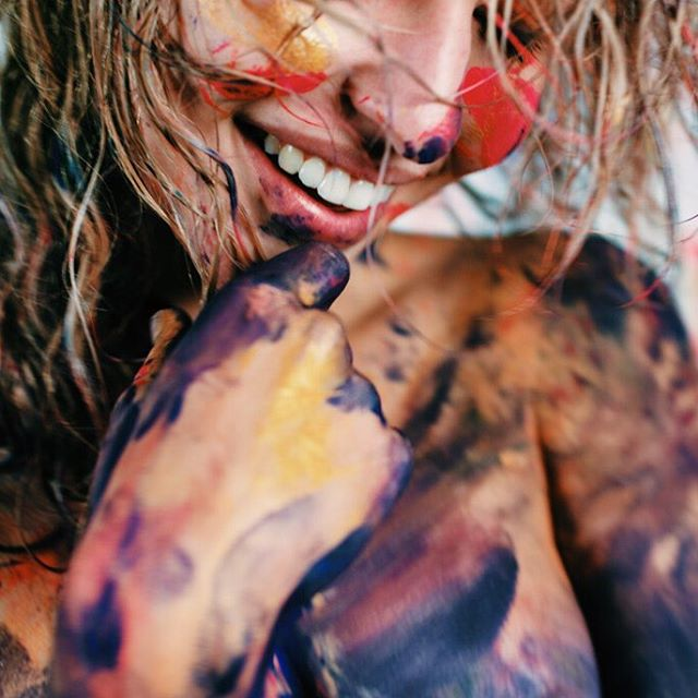 The paint washes off, the smile never does.  @allisonejoseph getting messy with the new Love and Paint II kit. Preorder yours today #LoveAndPaint #ForTheColorful