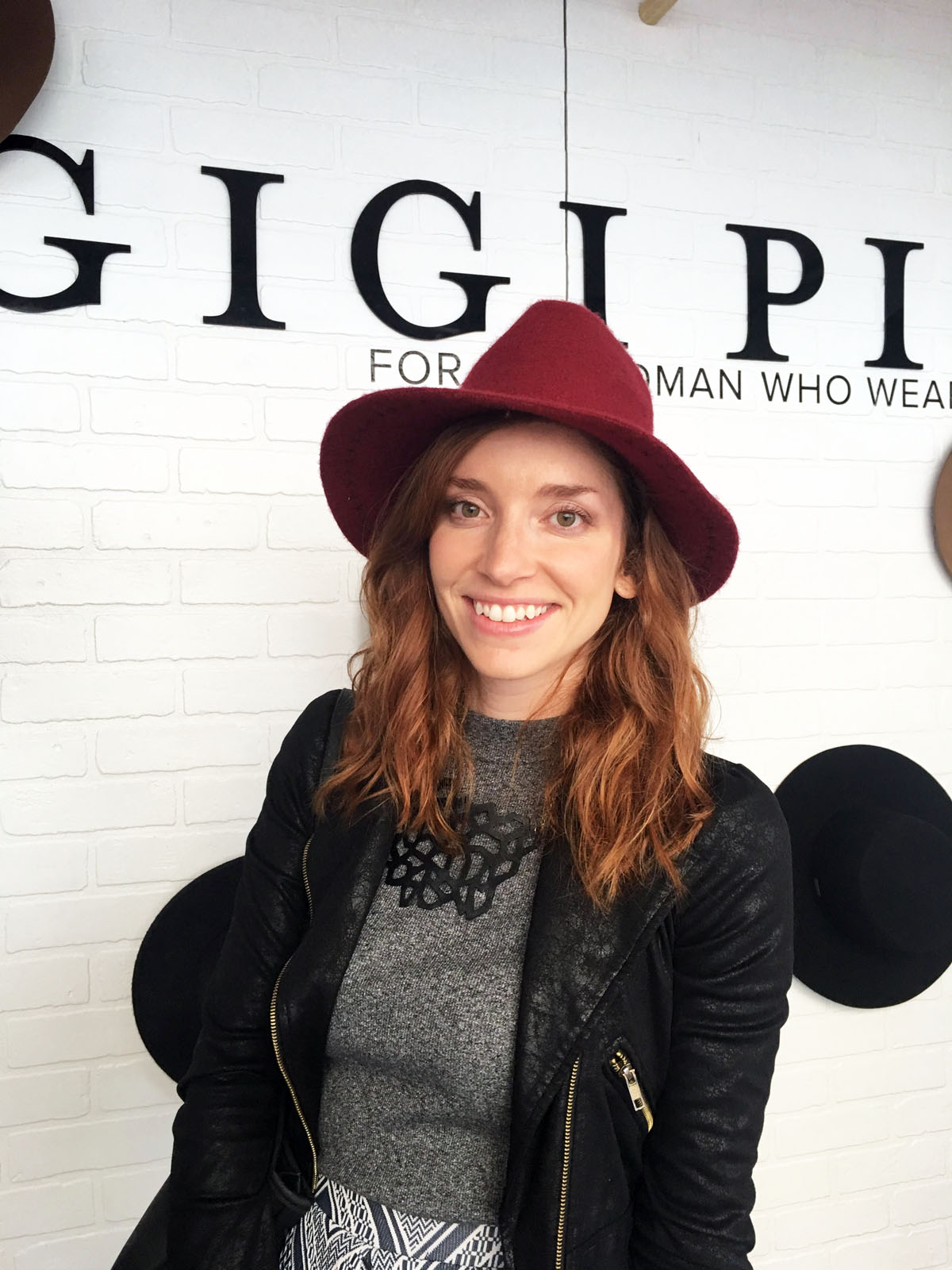 My sister, Tarra, trying on her adorable Gigi Pip hat!