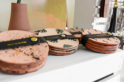 Stitch & Shutter booth detail- handmade leather print coasters- at Spring at the Silos 2019