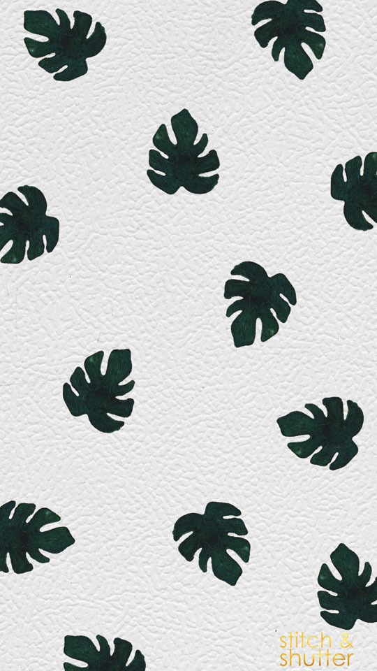 Stitch & Shutter Hand Painted Monstera Leaf Background