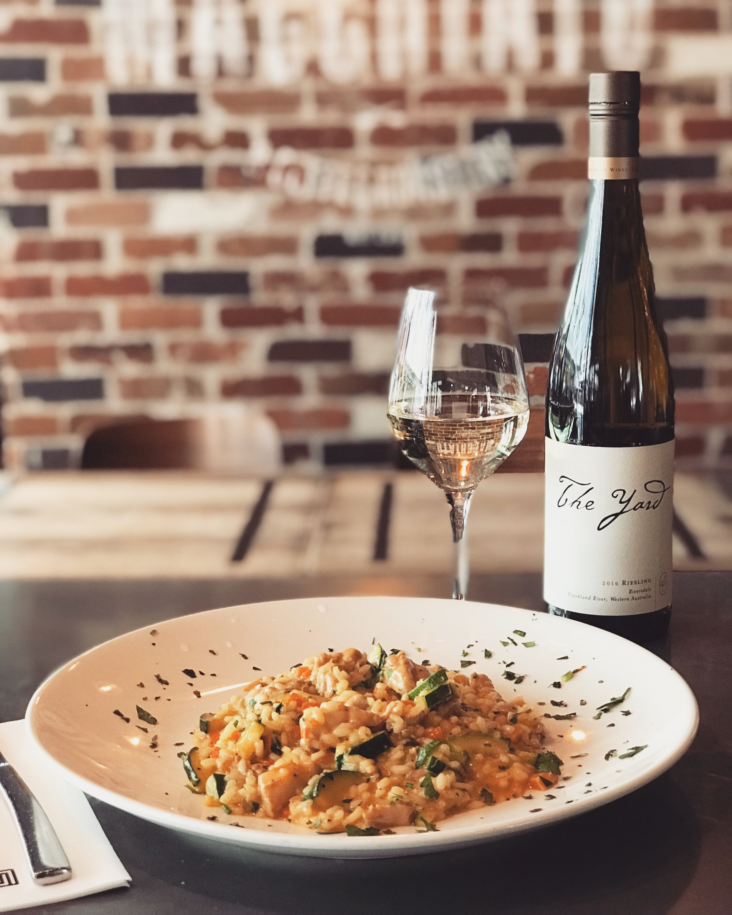 13-19 December - Zucchini and saffron risotto with slow cooked chicken thighs, parsley and olive oil.Recommended with a glass of our 'The yard' Riesling.