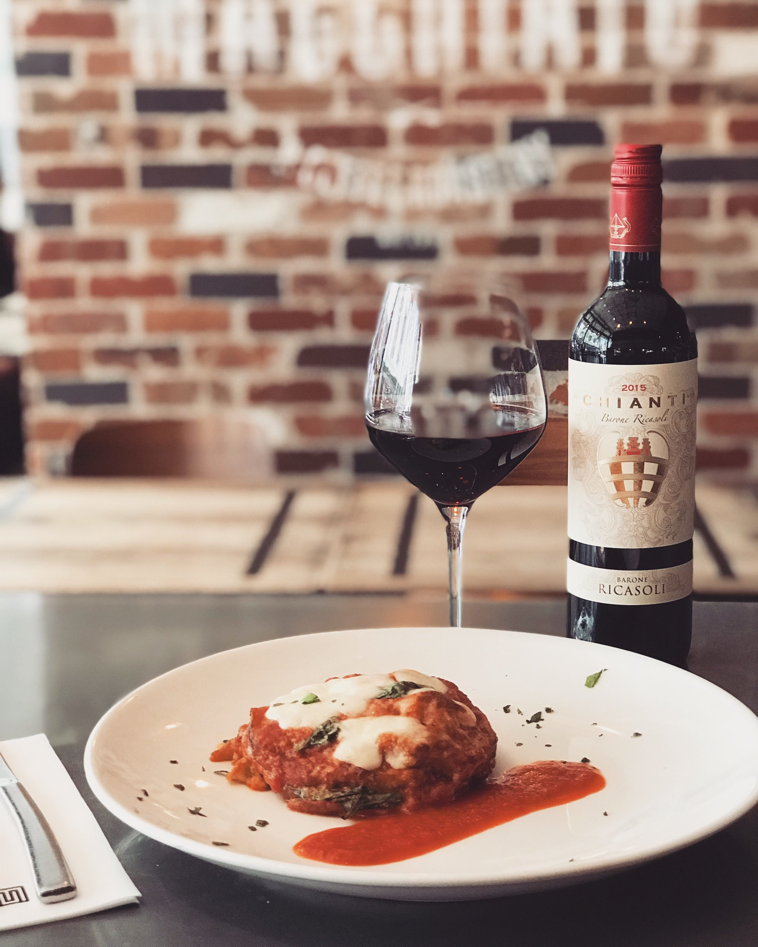 13-19 December - Nonna's treat: wood baked eggplant parmigiana, with napoletana sauce, fior di latte mozzarella, extra virgin olive oil and fresh basil.Perfectly matched with our Barone Ricasoli Chianti.