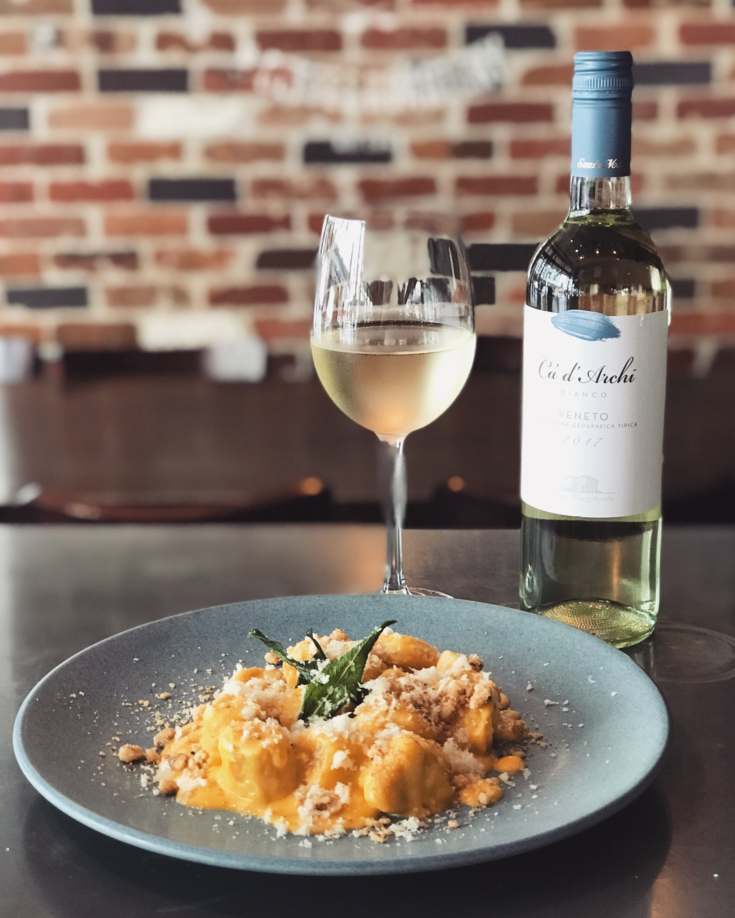 27 Feb - 5 Mar - Wood roasted butternut pumpkin gnocchi, with pumpkin purée, toasted walnuts, blistered sage and truffle pecorino.Perfectly matched with a new addition to our wine cellar: Ca' d'Archi, a blend of Pinot Bianco and Pinot Grigio straight from its land of origin - Veneto (Italy). A delicate flavour which exalts and brings out the delicate flavour of the pumpkin and sage, but doesn't overpower it.