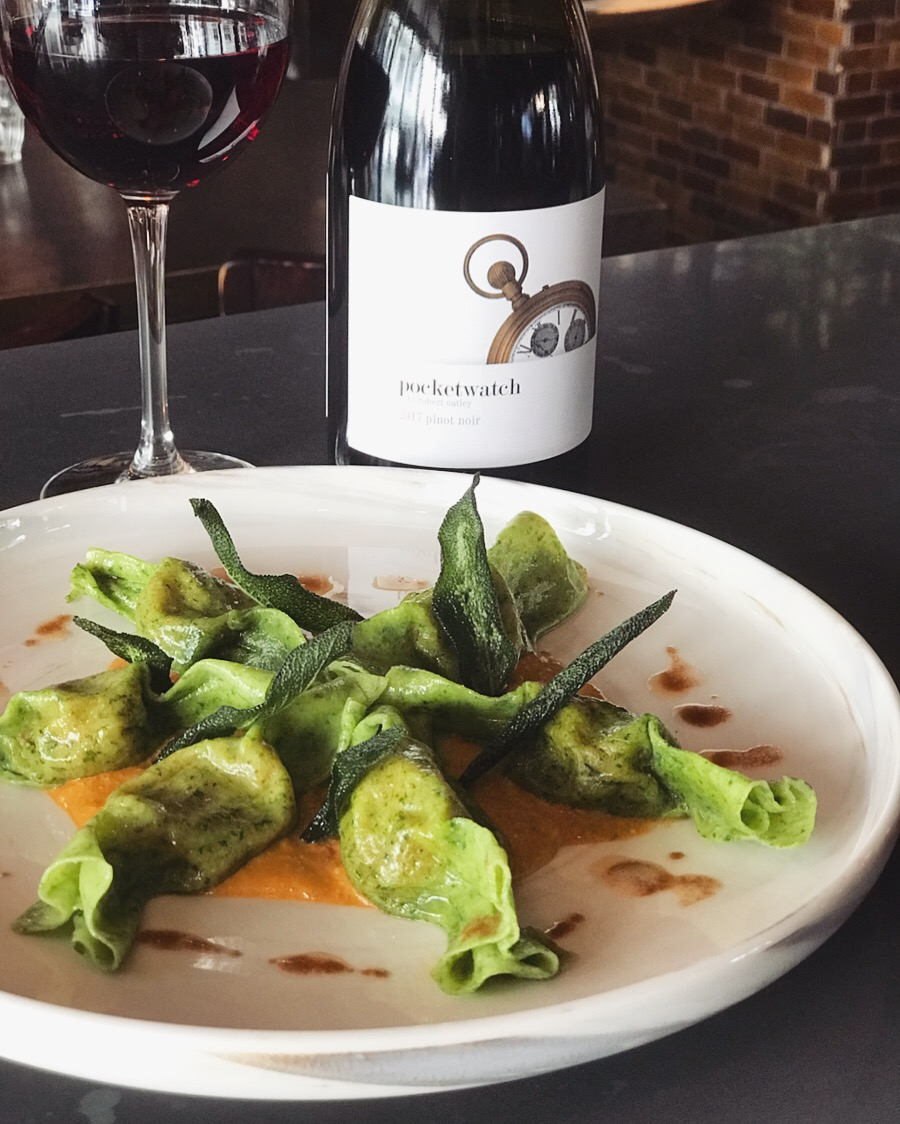 13-19 march - Homemade spinach-infused, candy shaped dumplings stuffed with sweet potato and served with Trapanese (Sicilian) pesto and burnt butter.Recommended with a playful glass of Pocketwatch Pinot Noir (Central Ranges).