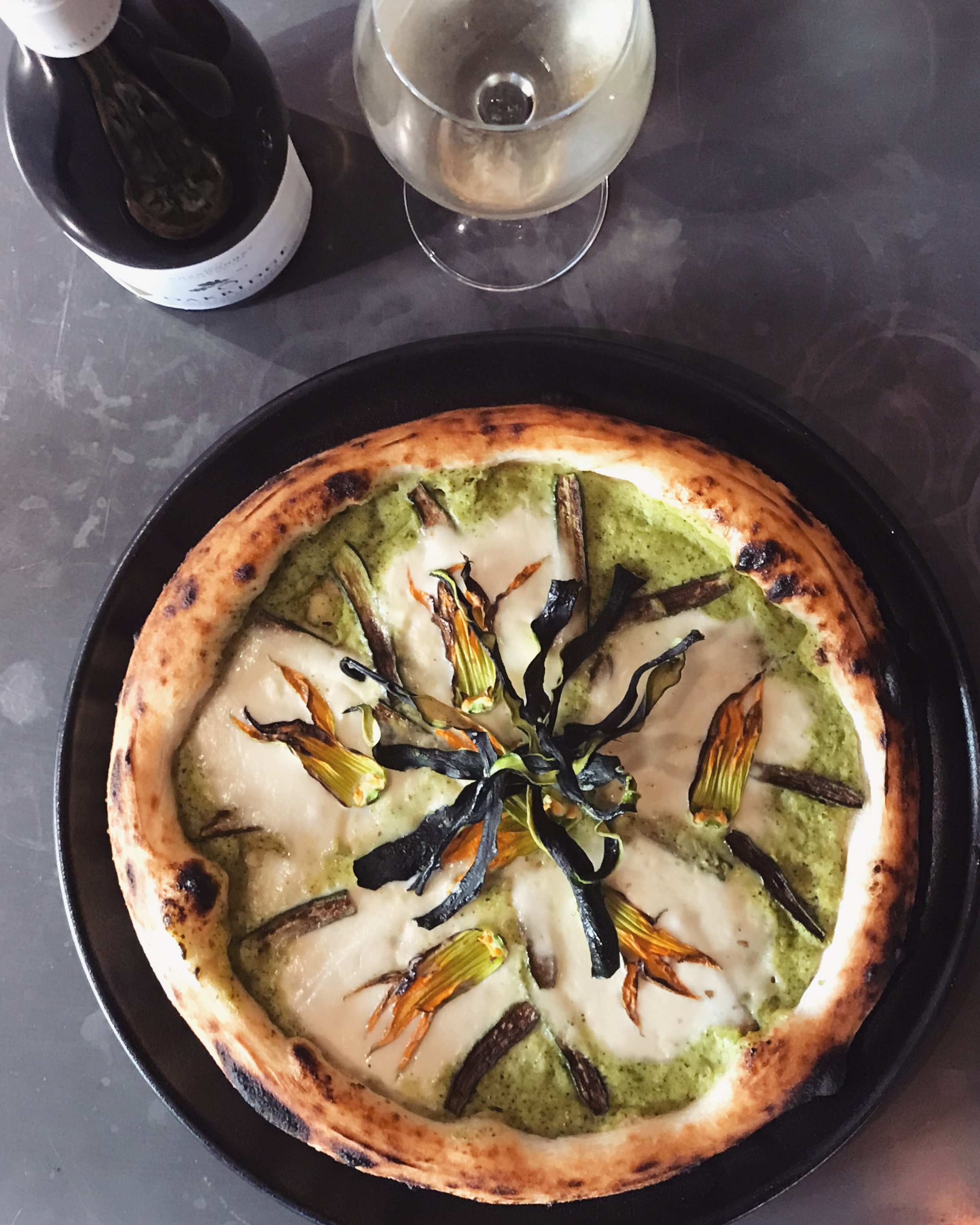 13-19 March - Grilled zucchini and zucchini flowers on a base of creamy zucchini and Fiordilatte mozzarella, topped with crunchy sun-dried zucchini.Best enjoyed with a glass of Oakridge Chardonnay (Yarra Valley, VIC).