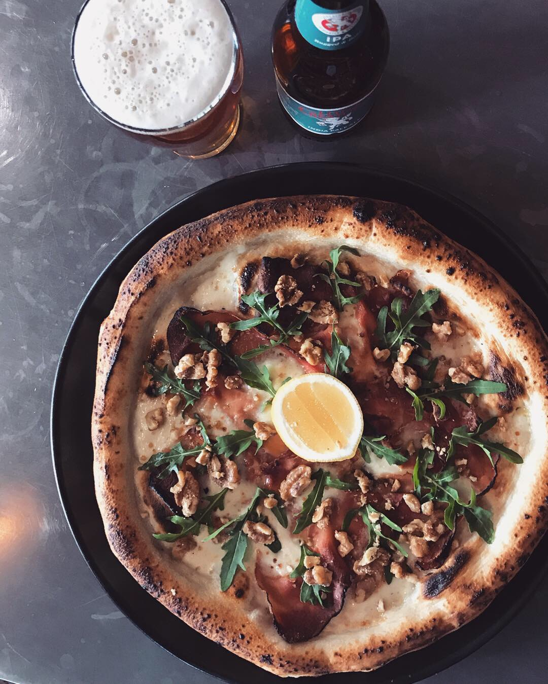 27 March - 2 April - White base of fiordilatte and taleggio cheese, smoked speck, candied walnuts, rocket.This salty pizza topped with ingredients typical of the alpine regions of Italy is perfectly matched with a refreshing yet robust Little Creatures IPA.