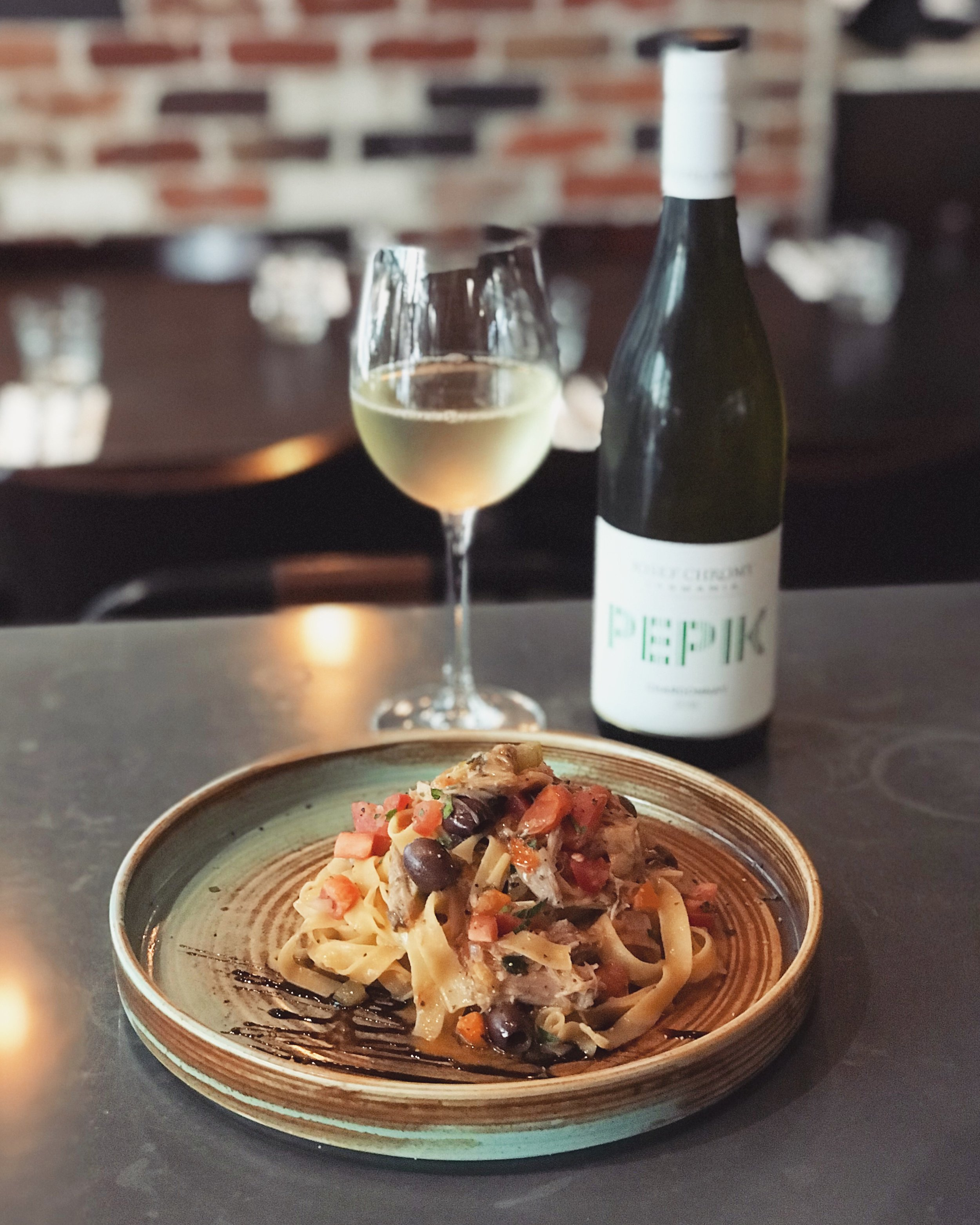 3-9 April - ~ R a g ù d' A n a t r a ~Delicious egg fettuccine wrapped around by a slow-cooked duck ragù with Ligurian olives, tomato concassé and a pinch of chilli flakes to spice it up.Best complemented by a jovial glass of Josef Chromy 'Pepik' Chardonnay (Tasmania).