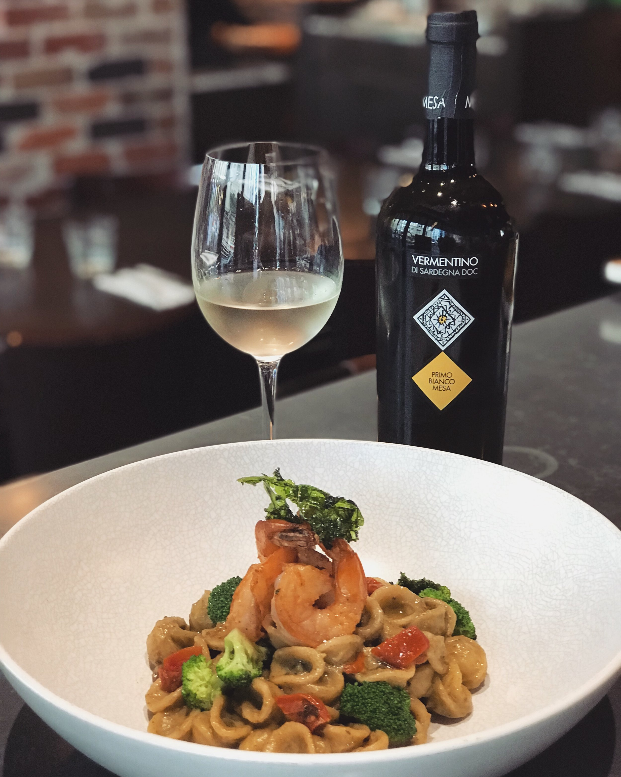 17-28 April - ~ Orecchiette Gamberetti & Broccoli ~⠀⠀Hand crafted orecchiette with prawns, broccoli, cream and thyme.⠀⠀Recommended with a glass of Vermentino.