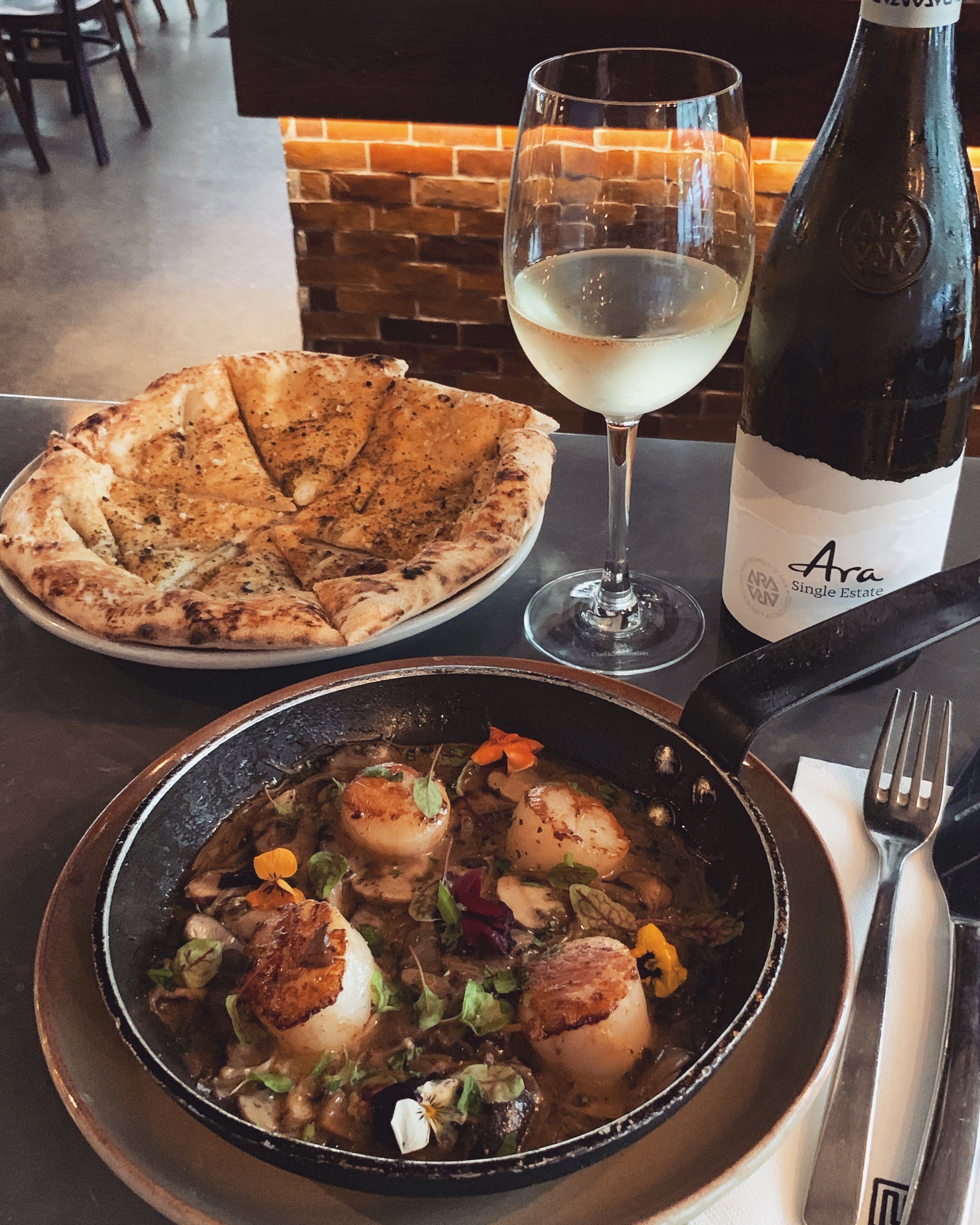 12-18 June - ~ C a p p a s a n t a ~Grilled Japanese scallops with a quartet of shiitake, enoki, porcini, button mushrooms and a hint of chilli! Weekly special, June 13-18.~Recommended with a glass of Ara 'Single Estate' Sauvignon Blanc.~