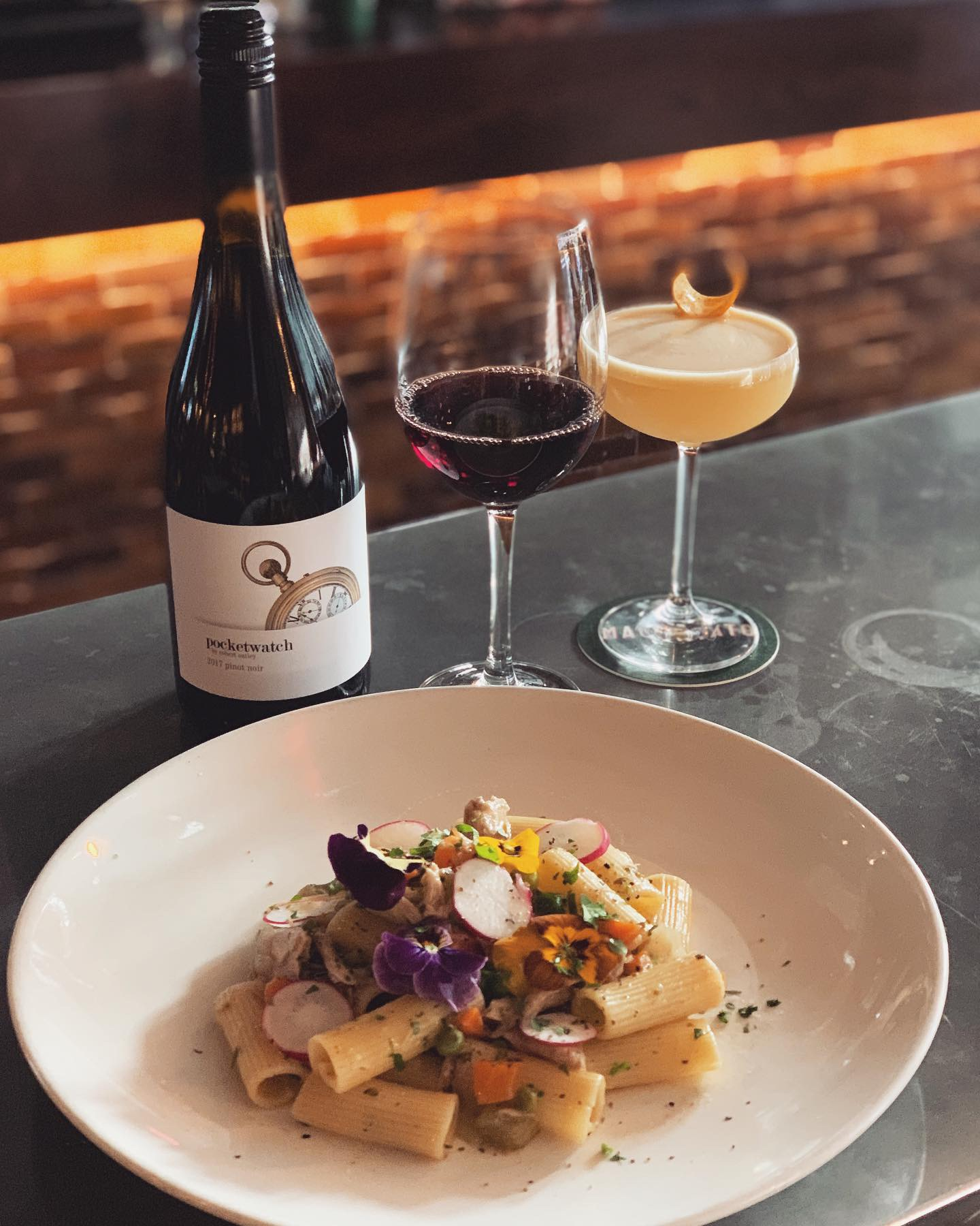 10-16 July - ~ RIGATONI AL RAGU' DI CONIGLIO ~.Wild rabbit ragout rigatoni with organic sweet peas, Pinot bianco and extra virgin olive oil..Perfectly matched with a light hearted glass of pinot noir 🍷.