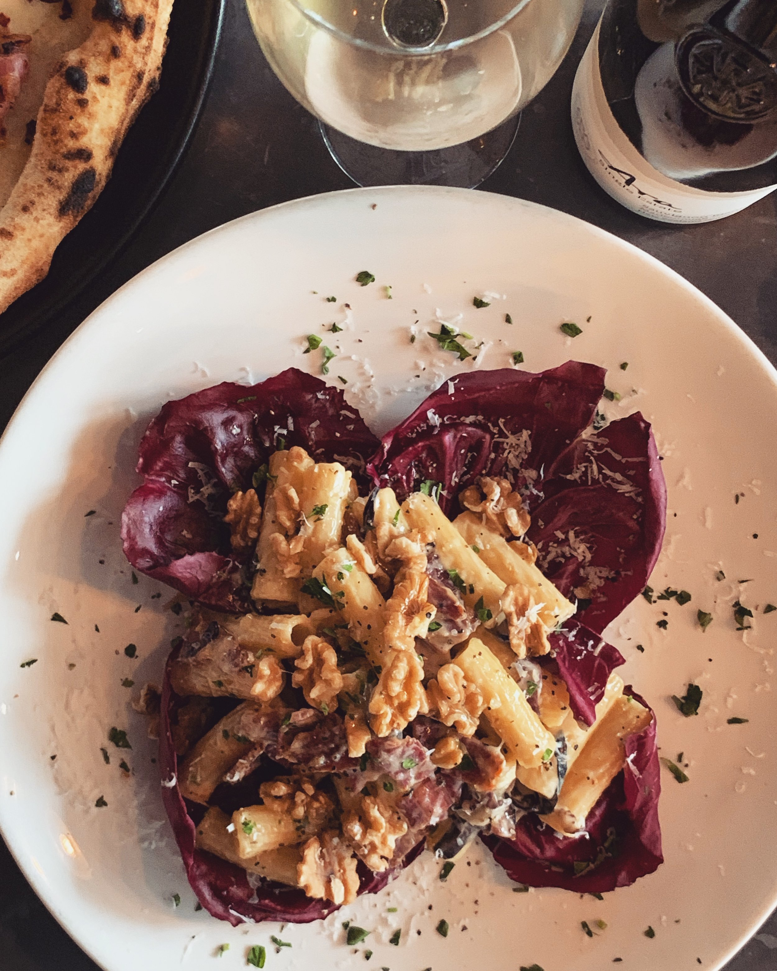 31 July-6 August - ~ R i g a t o n i a l l a M o n t a n a r a ~This week we are serving a dish that's for those who like bold flavours!// Rigatoni, gorgonzola piccante, mountain speck, radicchio, walnuts and parmigiano reggiano. //.Perfect comfort food for these recent cooler nights. 👌🏻