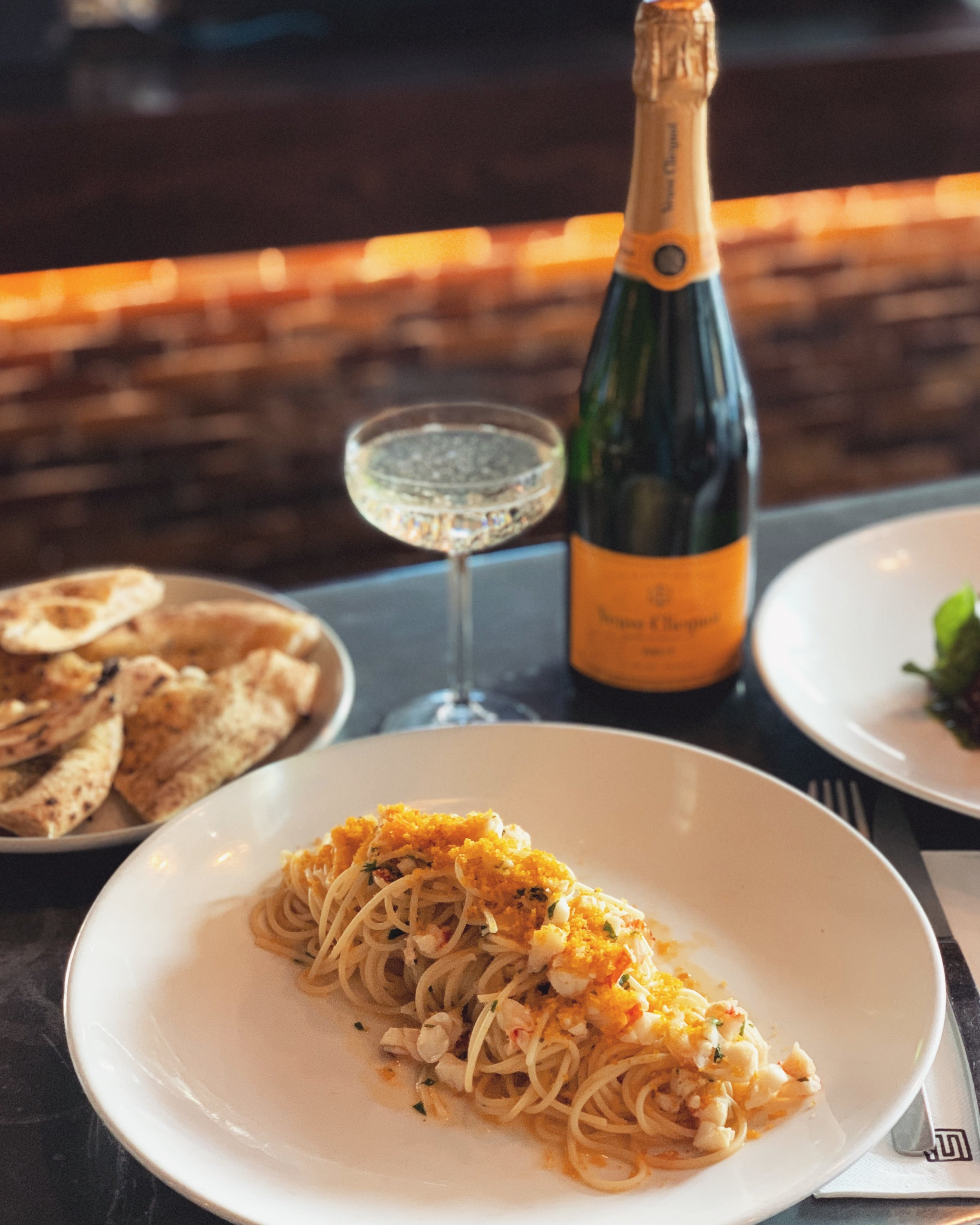 7-13 August - A very special special this week as to raise the bar in quality and rarity..~ CHAMPAGNE LOBSTER SPAGHETTINI ~// Homemade spaghettini, champagne lobster, Sicilian bottarga, seafood bisque, lemon butter, garlic & chilli. //.Of course, best enjoyed with a glass of champers, which, by the way, for this week only, we'll be serving by the glass 🥂 cin-cin!