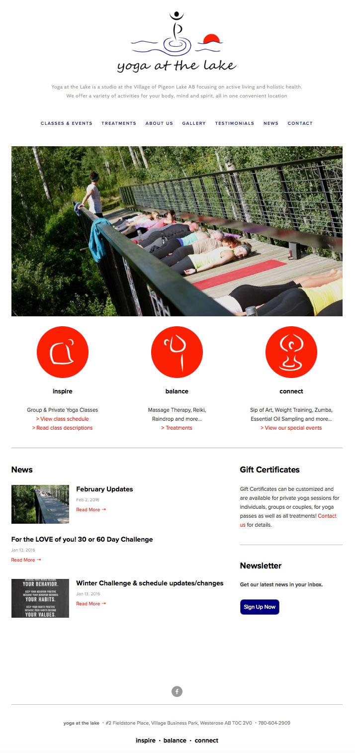 Yoga at the Lake website