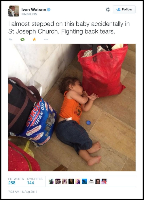 Ivan Watson, CNN's senior international correspondent tweets from St. Joseph's Church, in Arbil, Iraq on Aug. 8, 2014.