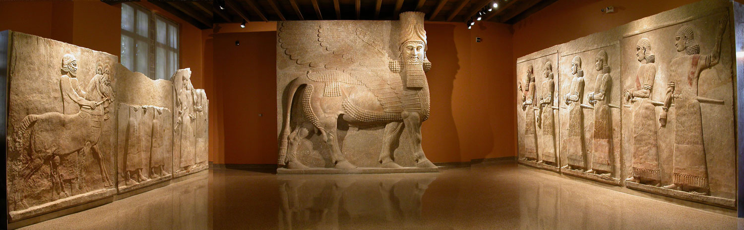 The Yelda Khorsabad Court recreates part of the interior of a palace courtyard of King Sargon II of Assyria (ca. 721–705 BC), dominated by the 16-foot tall, 40-ton, human-headed winged bull, the Lamassu. The Lamassu and the adjacent reliefs were excavated by the Oriental Institute between 1928–1935 at Sargon's capital city Khorsabad. (Oriental Institute Museum/Courtesy)