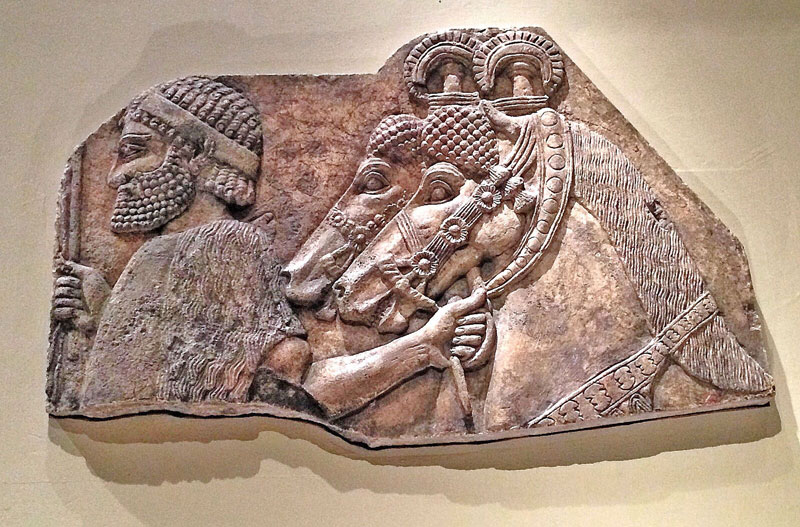 An alabaster relief from the Palace of Sargon II, originally located in Khorsabad, Iraq, which dates to 721-705 BC. A non-Assyrian is depicted giving tribute to an Assyrian king. Located at the Metropolitan Museum of Art in New York City.   (Photo by Ramsen Shamon)