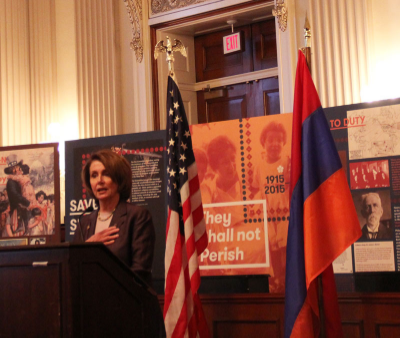 Nancy Pelosi, House Minority Leader, spoke at an event hosted by the Congressional Armenian Caucus on Wednesday night.  (Photo by Ramsen Shamon)