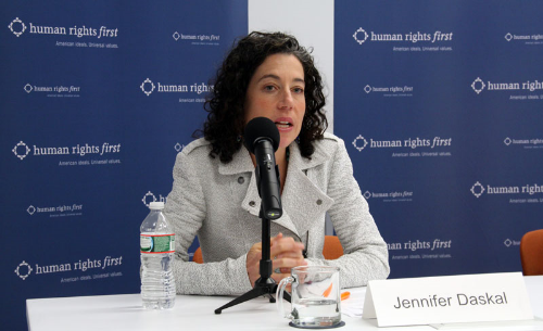 Jennifer Daskal, assistant professor of law at Washington College of Law, American University, spoke at the Human Rights First headquarters in Washington on Wednesday.    (Photo: Ramsen Shamon)