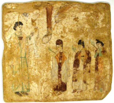 """Nestorian priests in a procession on Palm Sunday, in a 7th- or 8th-century wall painting from a Nestorian church in Tang China""  x"