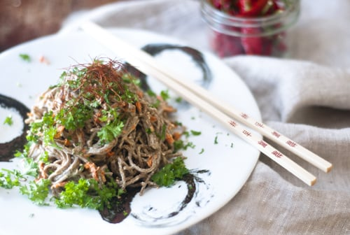 Spicy Creamy Soba Noodles with Cashew butter sauce
