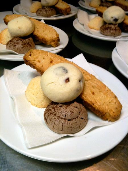 Cranberry Shortbread, Cocoa Meringue, Coconut Macaroon and Biscotti