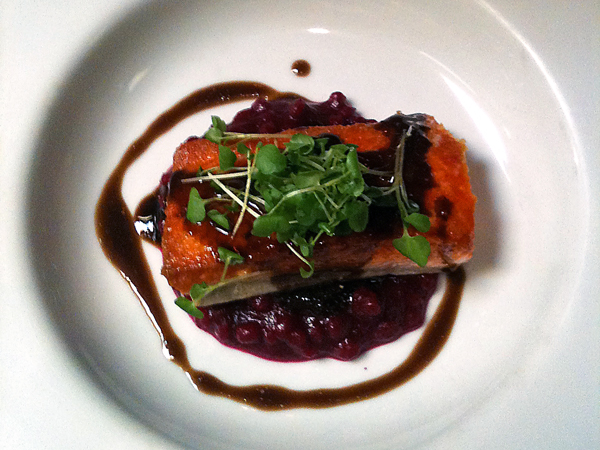 Roasted Salmon & Red Beet Risotto