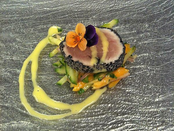 Sesame Crusted Tuna & Passionfruit Vinaigrette