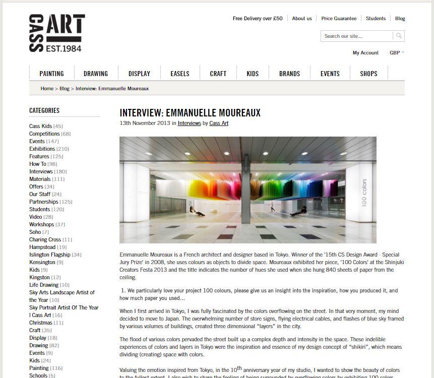 INTERVIEW : <br>EMMANUELLE MOUREAUX <br>CASS ART LONDON 2013/11 (English)