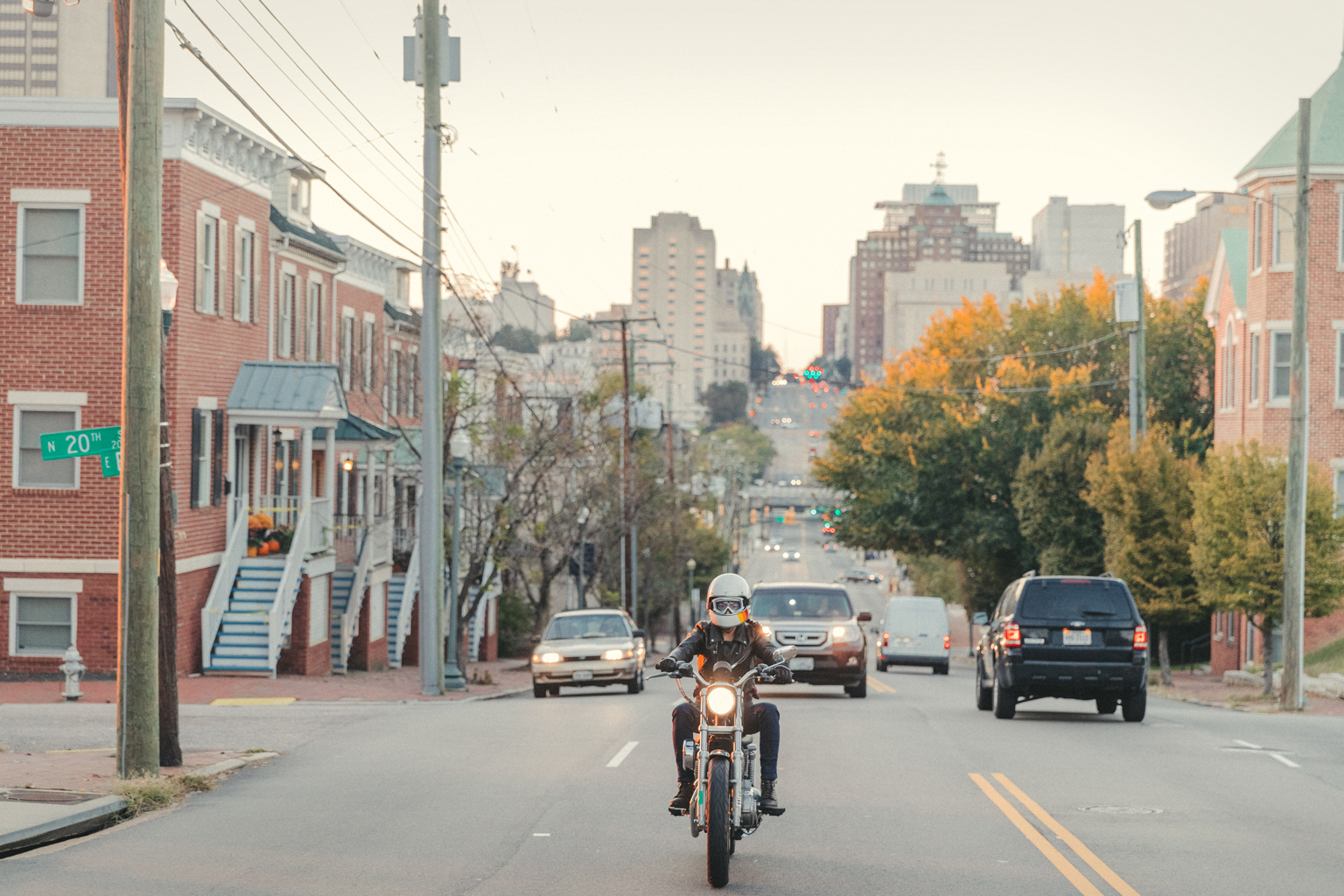 Customer and RVA Litas founder @rollinsam2 on her Sporty, coming up Broad Street into Church Hill, RVA. Photo @nickdavis_rva