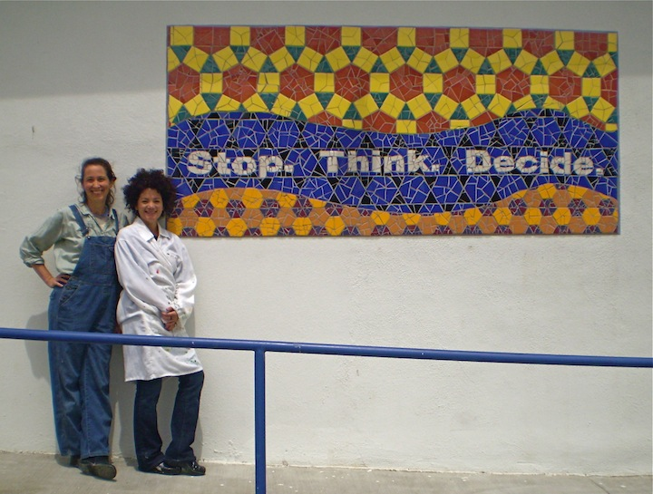 Stop. Think. Decide.  - a investigation of tessellations, in the classroom with manipulatives, on the computer with Geometer's Sketchpad, and in the art studio, resulting in a small or large scale mosaic installation.