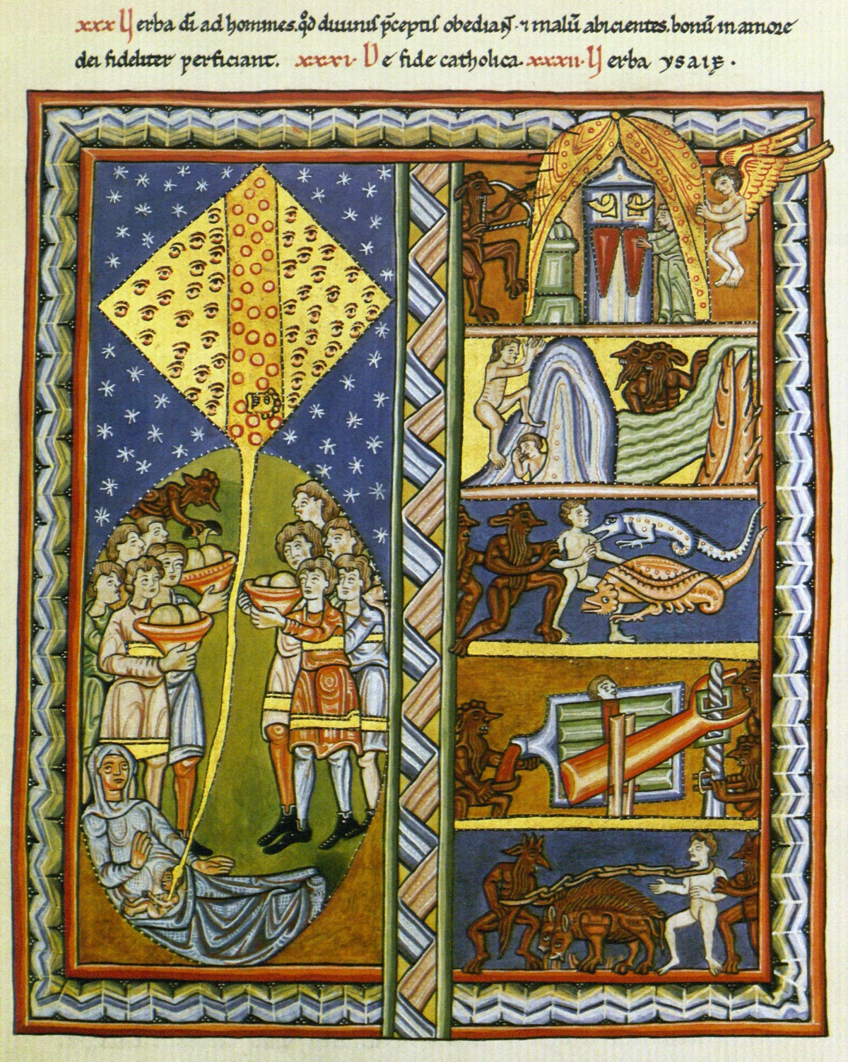 """Illumination from Liber Scivias:""""Die Seele und ihr Zelt"""" (The soul and its tent) picturing the divine spark entering the human body (left) and it's journey throughout the challenges and difficulties of life (right, from bottom up)until finding the place to unfoldher tent of rest.      """"If Hildegard had been a male   theologian, her Scivias would undoubtedly have been considered one of the most important early medieval summas.""""  says the German Hildegard scholar Schipperges."""