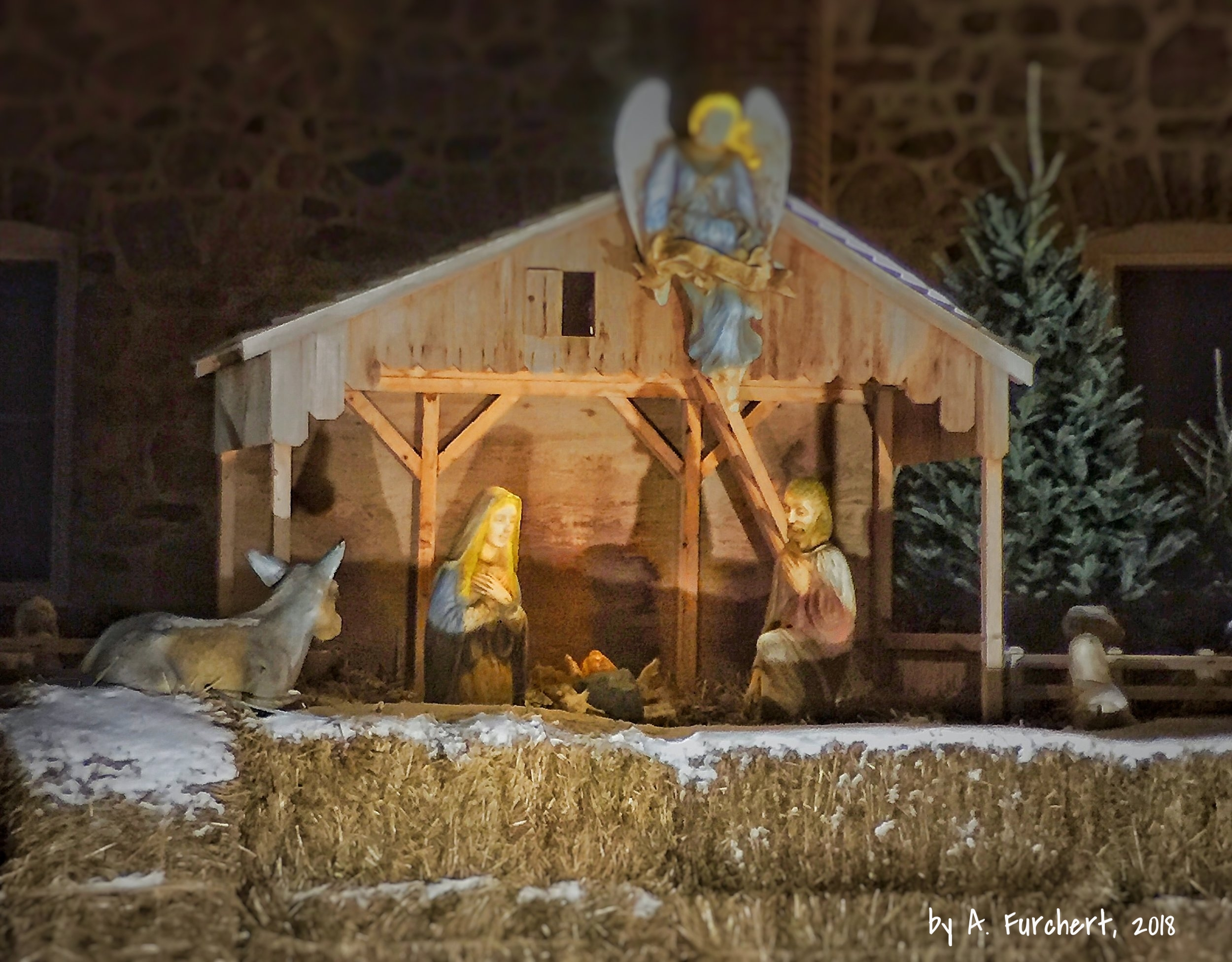 Little Jesus in an outside stable at arctic temperatures in MN. Bring him a blanket! Or even better, bring him inside. Cradle God incarnate in your heart.