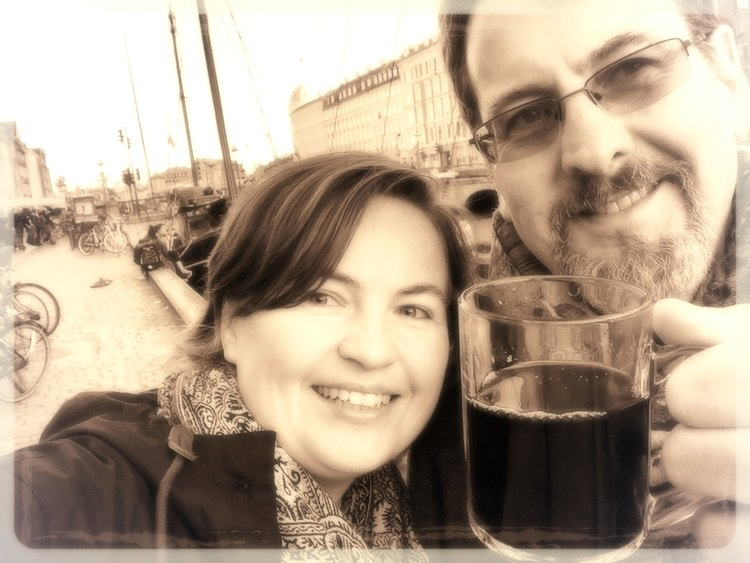 "Enjoying ""Glühwein"", spiced wine, at the harbor in Copenhagen."