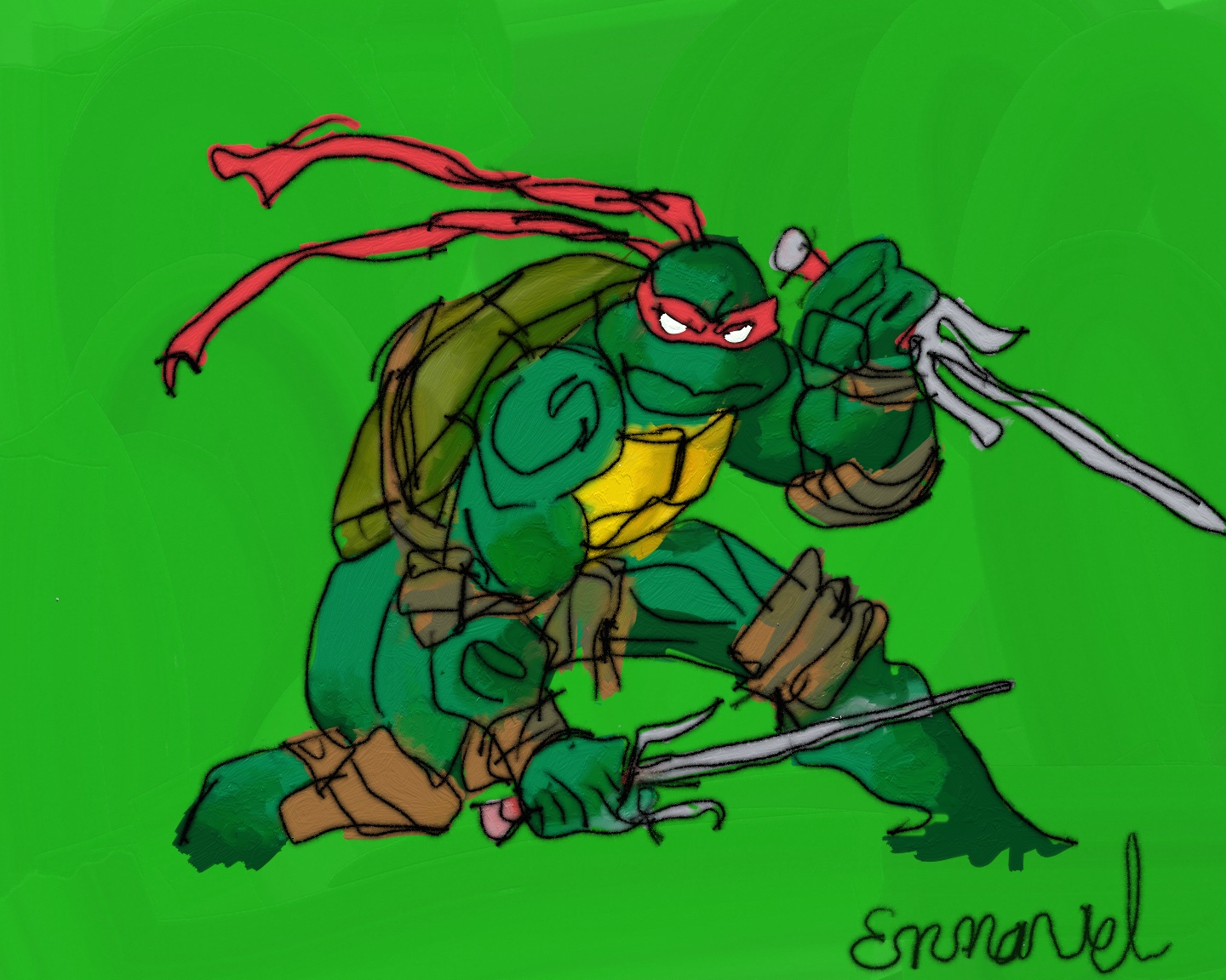 Image of a painting of a ninja turtle.