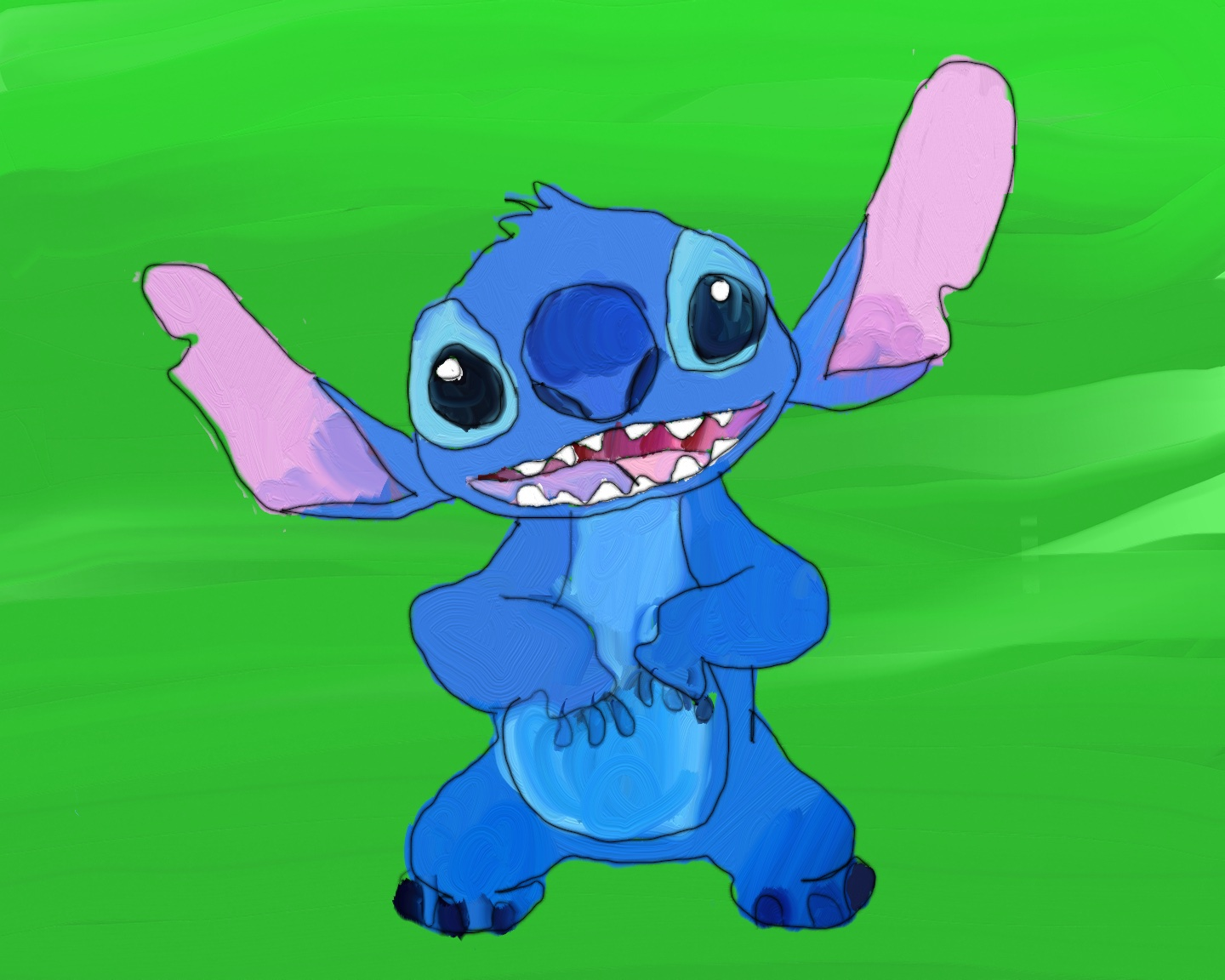 Image of a painting of Stitch.