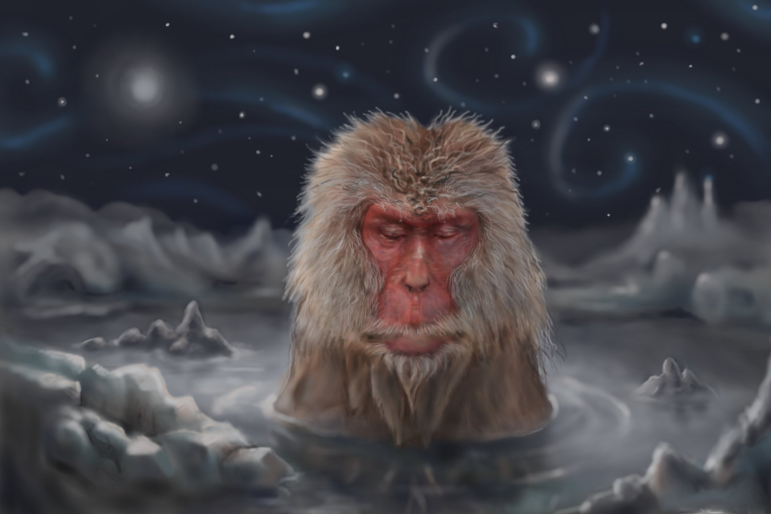 Image of a painting of a monkey.