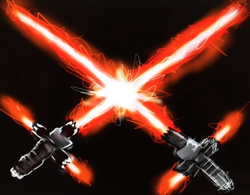 Image of a painting of light sabers.