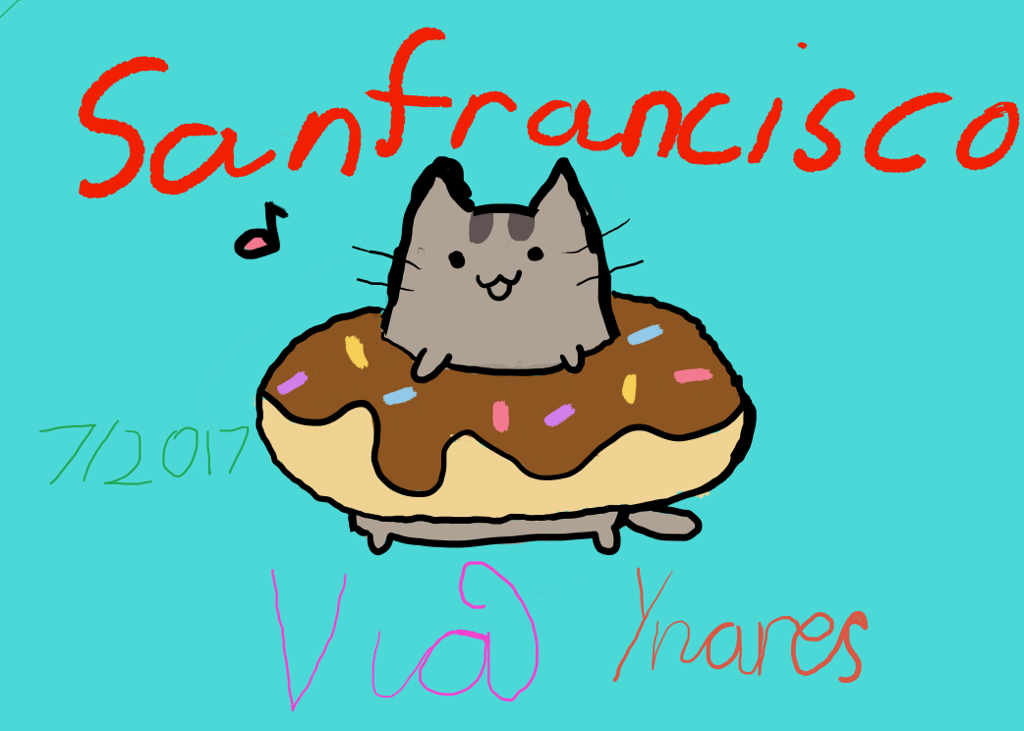Image of a painting of a cat inside a donut.