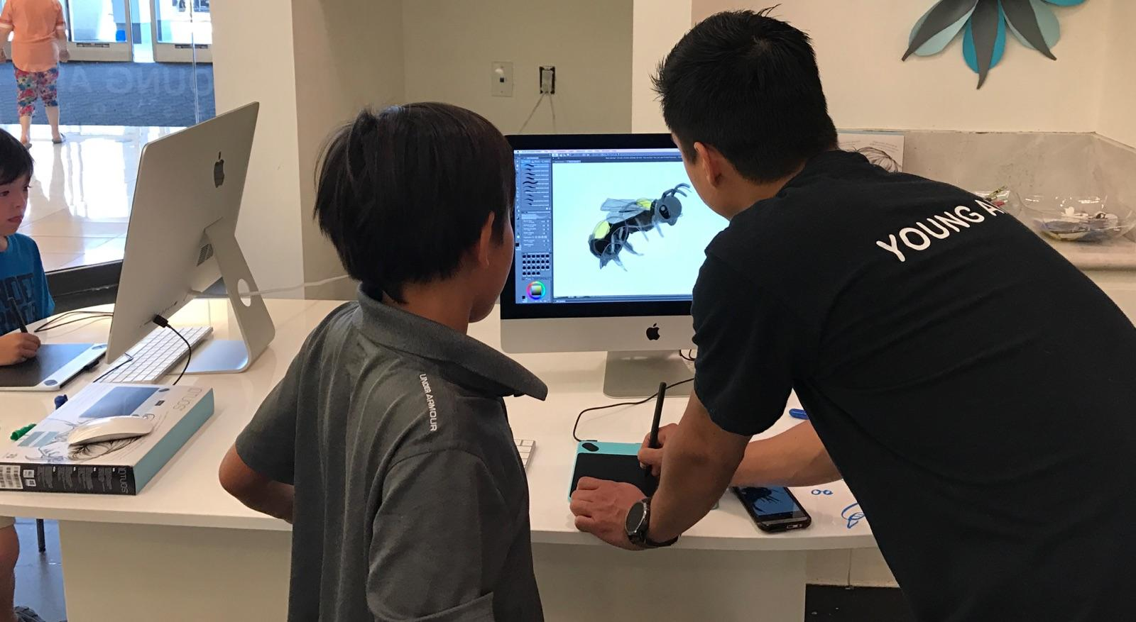 Image of a digital art lesson being taught.