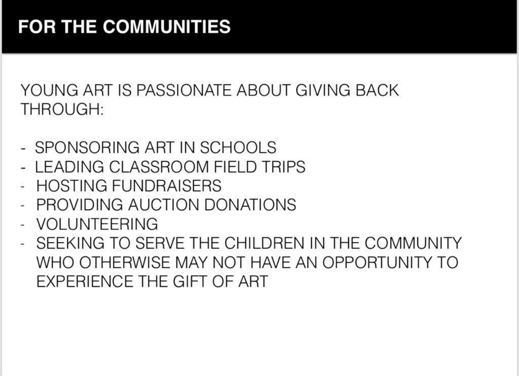 Image of how Young Art helps the surrounding community.