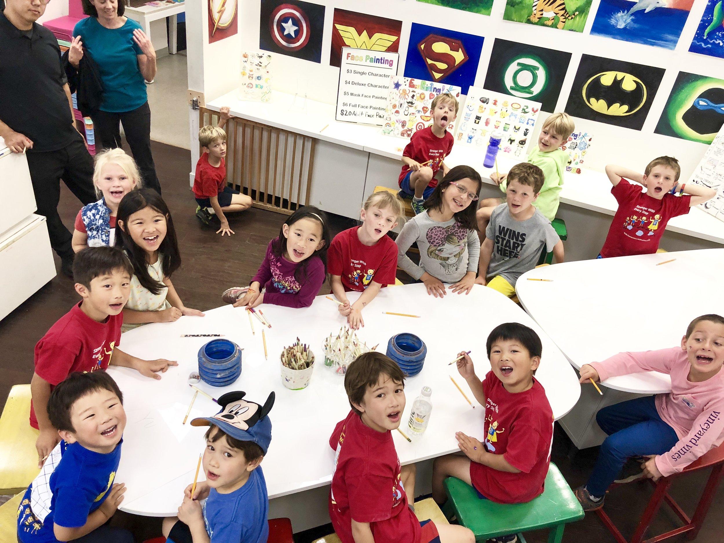 Image of kids doing art lesson.